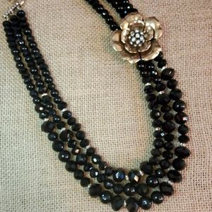 Triple strands Black Beaded Statement necklace